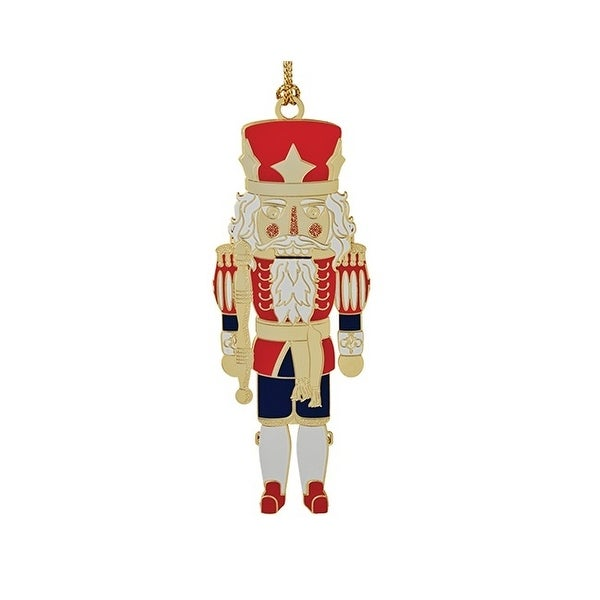 2 red blue and white 24k gold classic nutcracker christmas ornament - Nutcracker Christmas Ornaments