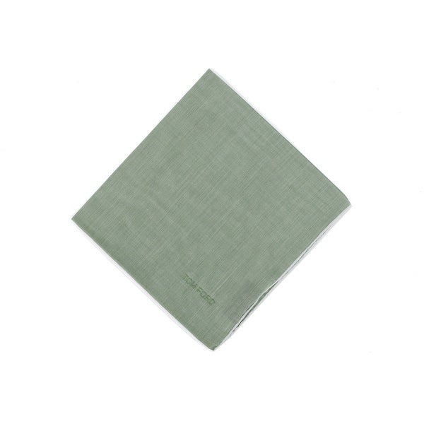 Tom Ford Mens Solid Green Silk Pocket Square