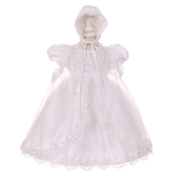 2c7e0a817950 Shop Baby Girls White Sequin Pearl Baptism Christening Cape Bonnet ...