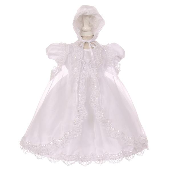 Little Girls White Sequin Pearl Baptism Christening Cape Bonnet Dress Set