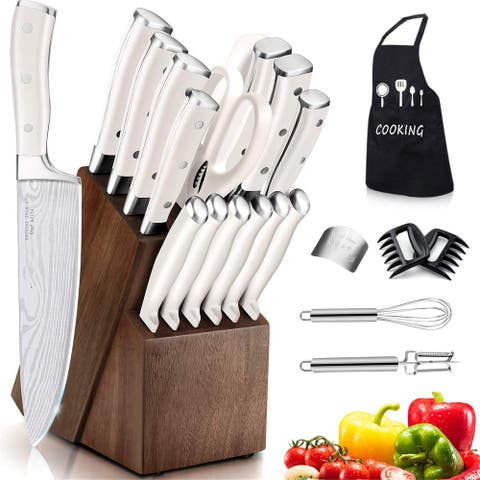 Knife Set, 22 Pieces Kitchen Knife Set with Block Wooden, Germany High Carbon Stainless Steel Professional Chef Knife Block Set