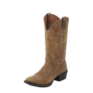 Justin Western Boots Mens Leather Cowboy Round Puma Bent Rail Tan 2555