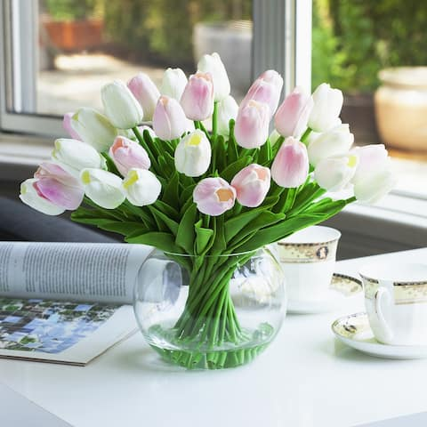 Enova Home Artificial Pink White Real Touch Tulips Fake Silk Flowers Arrangement in Clear Glass Vase for Home Office Decoration