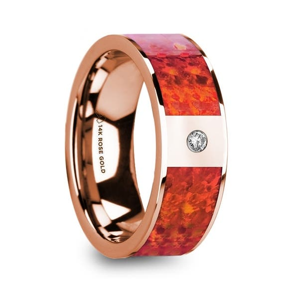 Shop Giannes Red Opal Inlaid Polished 14k Rose Gold Men S Wedding Ring With Diamond Accent 8mm On Sale Overstock 28716783