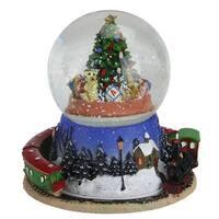 "6.5"" Christmas Tree and Train Revolving Musical Glitterdome Decoration - multi"