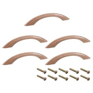 Wood Pull Handles 97mm Hole Distance 125mm Length Cabinet Drawer Door 5pcs - E-97mm Hole Distance-5pcs