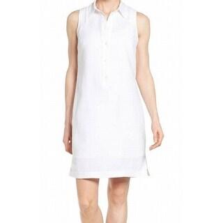 Michael Kors NEW White Women's Size Large L Linen Buttoned Shirt Dress