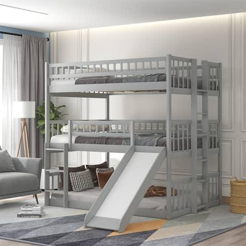 Merax Full-Over-Full-Over-Full Triple Bed with Built-in Ladder and Slide