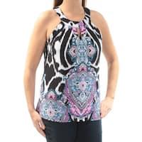 INC Womens Black Printed Sleeveless Keyhole Top  Size: XL