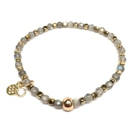"Labradorite, Gold Hematite Accents 'Infinity Friendship' 7"" Stretch Bracelet 14k Gold Over Sterling Silver"