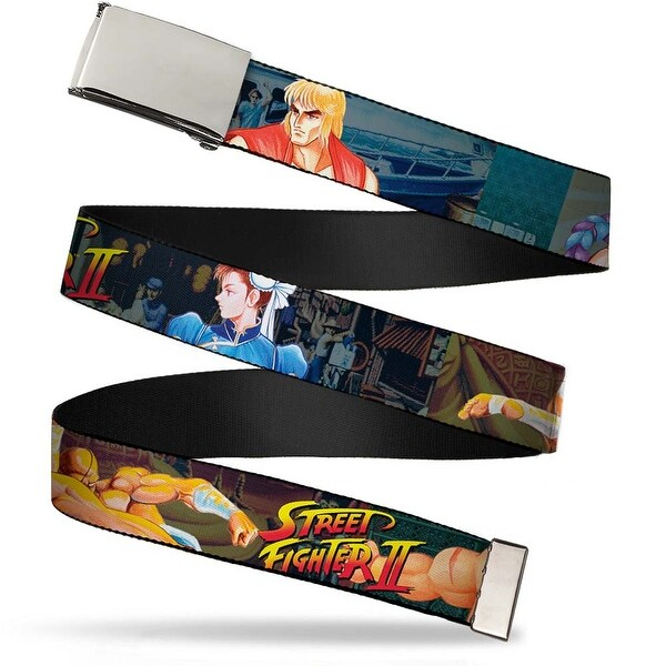 Blank Chrome Buckle Street Fighter Ii Character Poses Webbing Web Belt