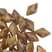 Czech Glass GemDuo, 2-Hole Diamond Shaped Beads 8x5mm, 8 Grams, Ivory Dark Travertine