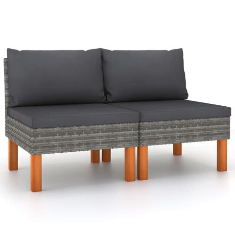 vidaXL Middle Sofas 2 pcs Poly Rattan and Solid Eucalyptus Wood