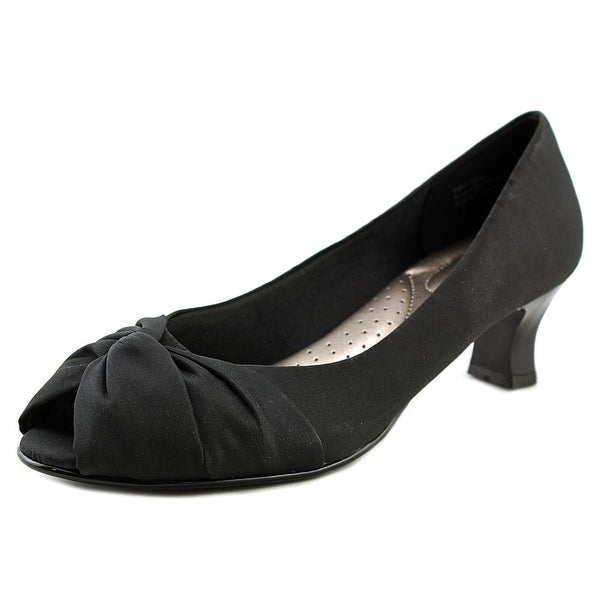Coach and Four Laura Pump Women Peep-Toe Canvas Black Heels