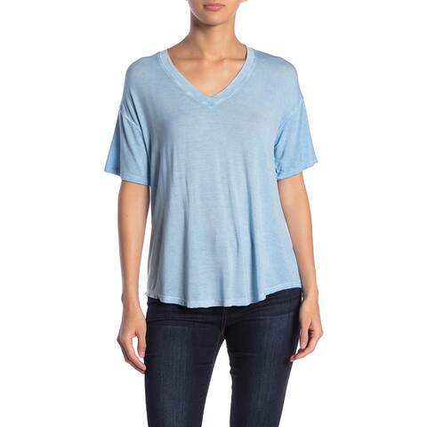 ABOUND Blue Womens Size Large L Washed High Low V-Neck T-Shirt Top 575