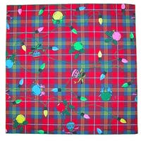 CTM® Plaid Christmas Lights Holiday Bandana - One size