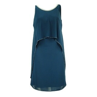 SLNY Women's Embellished Popover Chiffon Dress