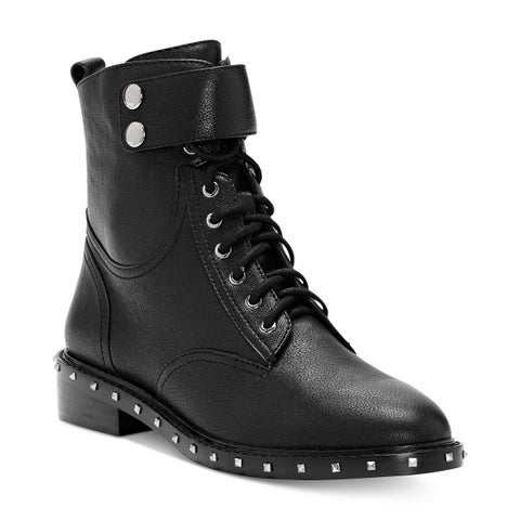 Vince Camuto Talorini Lace Up Studded Leather Motorcycle Boots Black