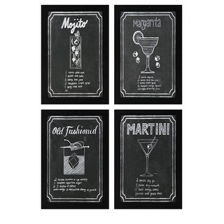 Set of 4 Black and White Chalkboard  Cocktail Recipe Wall Art 23.5""