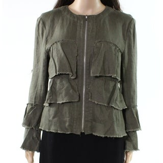 INC NEW Green Womens Size Small S Tiered Ruffled Bell-Sleeve Jacket