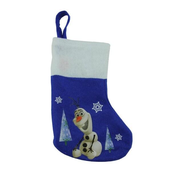 """8.5"""" Blue and White Disney Frozen Olaf the Snowman Mini Christmas Stocking"""