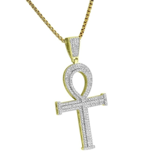 """Ankh Cross Pendant Iced Out Lab Diamonds 2.4 Inch Charm Necklace 24"""""""