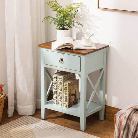 Porthos Home Unique 1-drawer X-brace Side Table