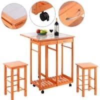 Costway Rolling Kitchen Island Trolley Cart Drop Leaf Table w/ 2 Stools Home Breakfast