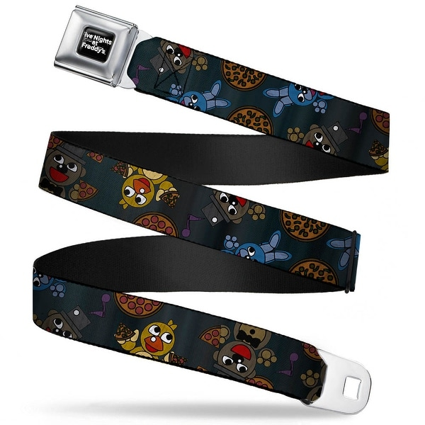 Five Nights At Freddy's Logo Weathered Full Color Black White Five Nights Seatbelt Belt