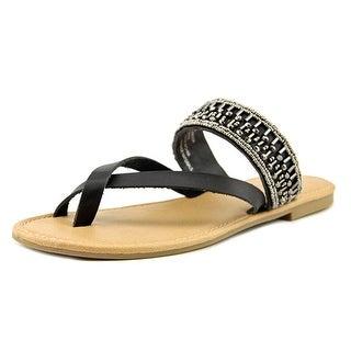 Mia Girl Maisy Women Open Toe Synthetic Black Thong Sandal