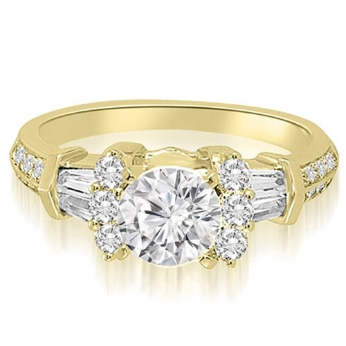 1.60 cttw. 14K Yellow Gold Round And Baguette Cut Diamond Engagement Ring