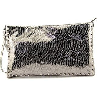 J. Renee Metallic Reptile Women Canvas Messenger - Silver