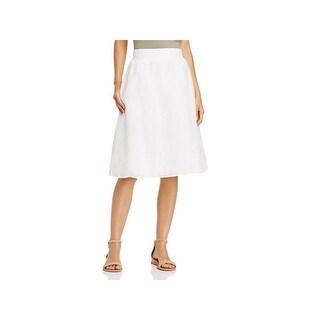 Eileen Fisher Womens Petites A-Line Skirt Woven Linen