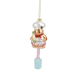 "7"" Gingerbread Kisses Chef sitting on a Spatula Christmas Ornament"