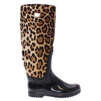 Dolce & Gabbana Black Rubber Leopard Pony Leather Rain Boots - 35