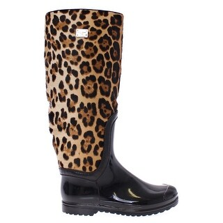 Dolce & Gabbana Black Rubber Leopard Pony Leather Rain Boots - 35