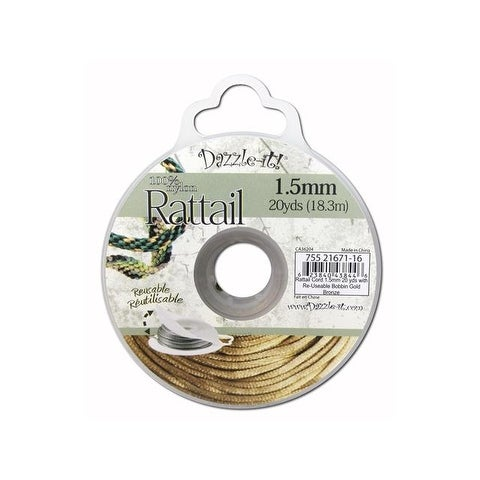 Dazzle It Rattail Cord 1.5mm 20yd Gold Bronze