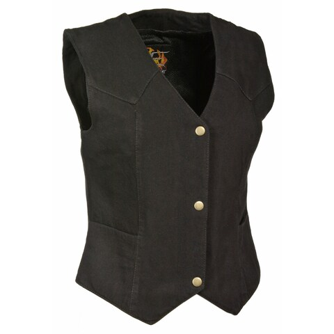 Womens Denim 4 Snap Plain Side Vest