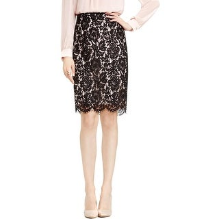 Vince Camuto Womens Pencil Skirt Scallop Floral