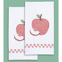 """Apple - Stamped White Decorative Hand Towel Pair 17""""X28"""""""