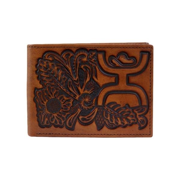 HOOey Western Wallet Mens Floral Signature Bifold Chestnut - 4 x 3/4 x 3