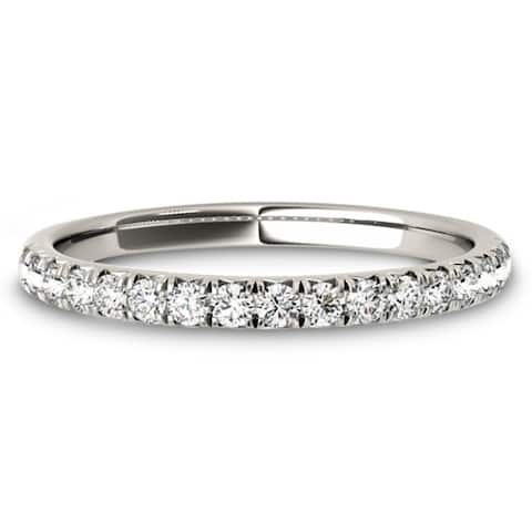Lucid Styles 14K Gold 0.17 CT Round Cut Stackable Classic Prong Diamond Wedding Ring