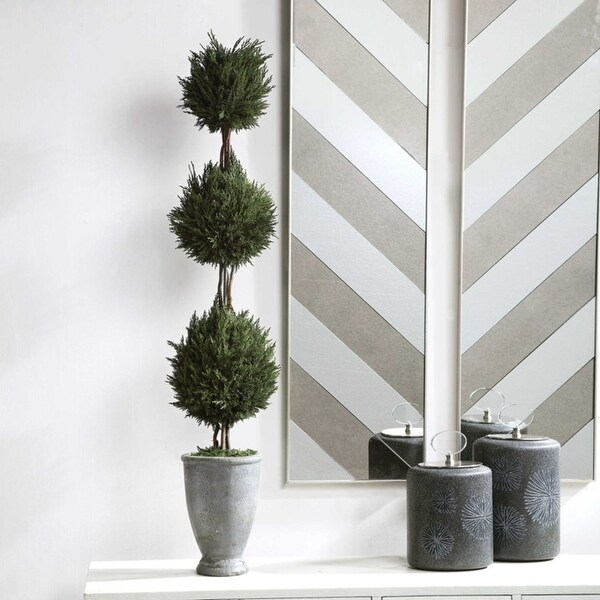 """43"""" Green and Gray Tropical Cypress Triple Topiary. Opens flyout."""