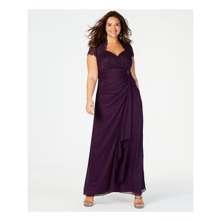 Link to BETSY & ADAM Purple Short Sleeve Full-Length Sheath Dress  Size 18W Similar Items in Petites
