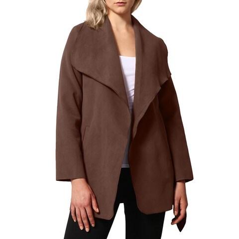 NE PEOPLE Womens Drape Front Belt Waist Trench Coat Cardigan [NEWJ126]
