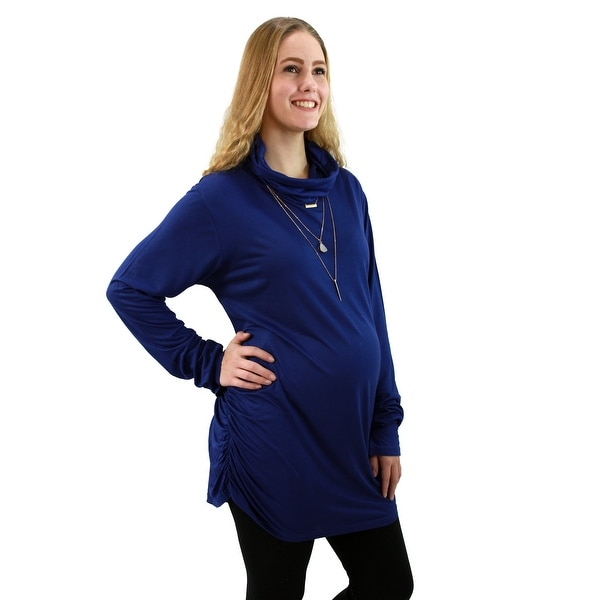 Signature Weaves Maternity cowl neck and tank neck tops combo pack (Royal Blue & White Combo)