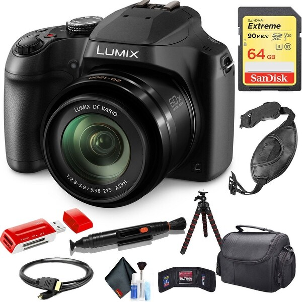 Panasonic Lumix DC-FZ80 Digital Camera with Cleaning Kit and 64GB Memory Card Combo