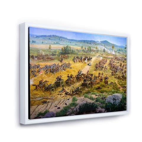 Designart 'Gettysburg National Military Park' Vintage Framed Canvas Wall Art Print