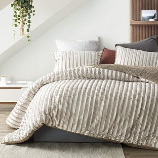 Link to Velvet Crush - Coma Inducer Oversized Duvet Cover - Ridged Silvery Beige Similar Items in Comforters & Duvet Inserts