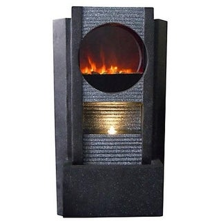 Stone Finish Modern Glass Front Indoor/Outdoor LED Fireplace Fountain 36 Inch